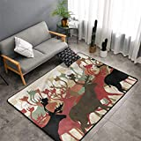 Christmas Area Rug Carpet Antler Indoor/Outdoor Rug,Reindeer Caribou Wildlife Machine-Washable/Non-Slip,