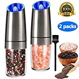 Gravity Electric Salt and Pepper Grinder Set, Automatic Pepper and Salt Mill Grinder,Battery-Operated with Adjustable Coarseness, Premium Stainless Steel with LED Light, One Hand Operated