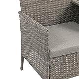 Ribelli Polyrattan Gartensitzbank mit Tisch 2-Sitzer grau Rattan Lounge - 2