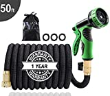 50Ft Expandable Garden Hose, Extra Strength 3750D Fabric, Triple Latex Core, 3/4' Solid Brass Connectors, New 9-Way Durable Spray Nozzle, Flexible Expanding Water Hose Car Washing, Vegetable Garden