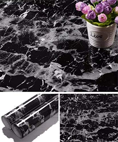 Yancorp 17.8 inch x78.7 inch Black Wallpaper Marble Counter Top Film Vinyl Self Adhesive Wallpaper Peel and Stick...