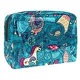 Bolsa de maquillaje portátil con cremallera bolsa de aseo de viaje para las mujeres práctico almacenamiento cosmético bolsa de animales fantásticos