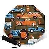 Paraguas compacto de viaje plegable automático de tres pliegues, con ruedas vintage