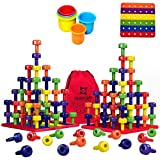 Stacking Peg Board Toy Set   Jumbo Pack   Montessori Occupational Therapy Fine Motor Skills for Toddlers and Preschooler, 60 Pegs & Board   3 Free Bonuses, 6 Stacking Cups, Colorful Board, Carry Bag