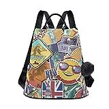 Mochila impermeable de moda para mujeres anti robo para mujer clásica mochila de viaje bolsa de hombro colorida dibujos animados pegatinas de viaje