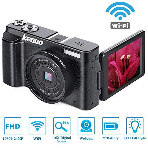 Digital Camera Vlogging Camera, KENUO FHD 1080p Video Camera MAX 24.0MP 3.0 Inch 180°Rotation Flip Screen 16X Digital Zoom Camera