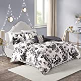 Intelligent Design Dorsey Comforter Reversible Flower Floral Botanical Printed Ultra-Soft Brushed Overfilled Down Alternative Hypoallergenic All Season Bedding-Set, Full/Queen, Black/White