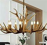 Vintage Resin Antler Chandelier with Chain, Faux Antler Fixture Deer Horn Ceiling Light Pendant Chandeliers for Living Room,Bar,Cafe (8-Light)