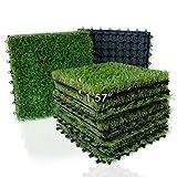 Artificial Grass Turf Interlocking Deck Tiles Set 18 PCS, 12'x12' Thick Synthetic Fake Grass Self-draining Mat Patch Indoor/Outdoor Flooring Decor Pad