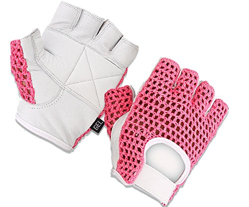 Gel Padded Leather Gym Gloves Fitness Cycling Weight Lifting Sports Wheelchair Pink/White W-1024 (Small)