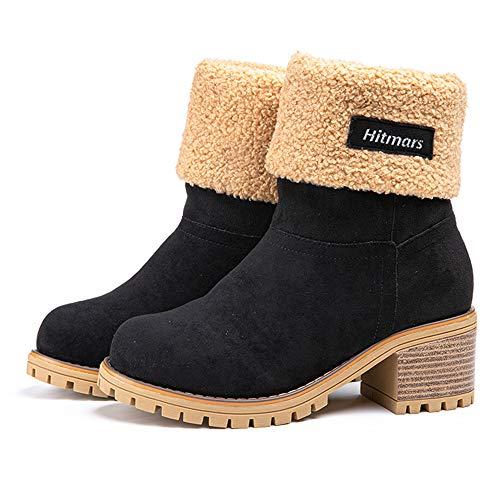 Botas Mujer Invierno Tacon Forrado Calentar Botas Altas Botines Moda Casual Outdoor Zapatos de Nieve Snow Boots 6 cm Negro 40