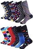 Marino Men's Dress Socks - Colorful Funky Socks for Men - Cotton Fashion Patterned Socks - 12 Pack (Trendy Collection,10-13)