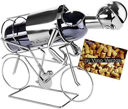 Brubaker Wein Flaschenhalter 'Rennradfahrer' - Metall Skulptur mit Geschenkkarte