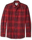 Marque Amazon - Goodthreads Chemise en flanelle brossée à manches longues pour homme Coupe ajustée, Rouge (Red/Black Plaid Red), US S (EU S)