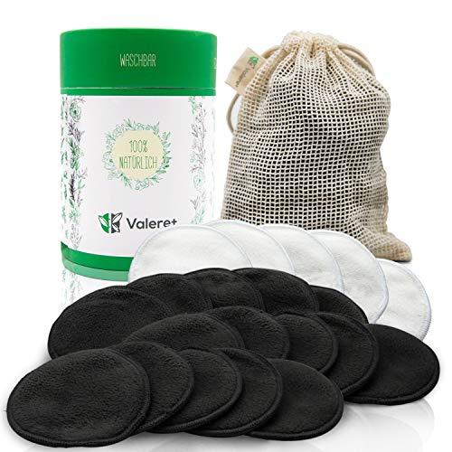Valere + 20 Stk Abschminkpads waschbar - Bambus-Baumwolle, Umweltfreundliche Wattepads, Nachhaltige Materialien - Für eine gründliche Gesichtspflege - Zero Waste - Inkl. Waschbeutel