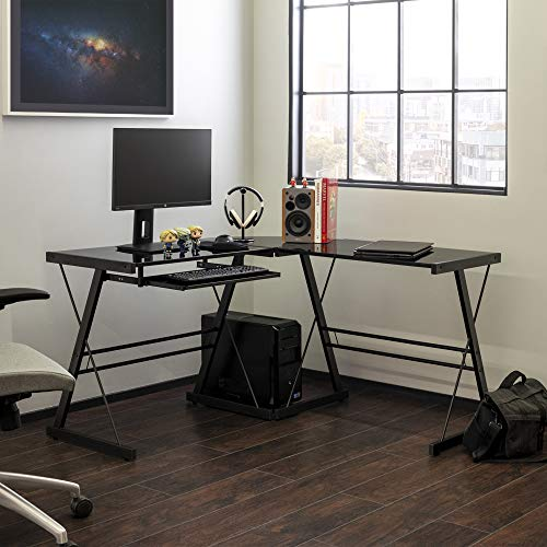Walker Edison Ellis Modern Glass Top L Shaped Corner Gaming Desk with Computer Keyboard Tray, 51 Inch, Black