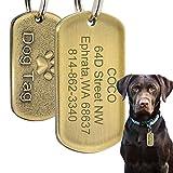 Beirui Médaille d'identification Militaire en Acier Inoxydable pour Chien avec nom gravé + numéro + adresse...