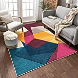 Well Woven Strata Squares Blue Purple Fuchsia Yellow Orange Modern Geometric Hand Carved 5x7 (5'3' x 7'3') Area Rug Easy to Clean Stain & Fade Resistant Thick Soft Plush