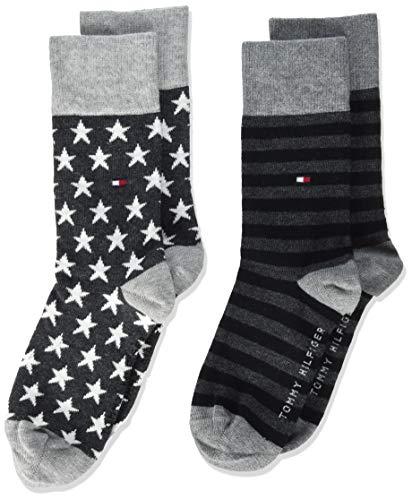 Tommy Hilfiger Stars And Stripes Kid's Socks (2 Pack) calze, nero, 27/30 (Pacco da 2) Unisex-Bambini
