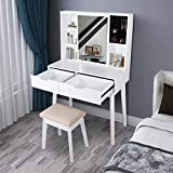 LYNSLIM Vanity Table Set with Mirror and Makeup Organizer Dressing Table,2 Large Drawers with Sliding Rails,Storage Shelves,Jewelry Box,Cushioned Stool,Makeup Vanity Desk