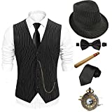1920s Mens Costume Accessories Set - Fedora Hat,Gatsby Gangster Vest,Vintage Pocket Watch,Plastic Cigar,Pre Tied Bow Tie,Tie,S