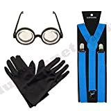 Turquoise Blue Braces, Black Gloves and Goggles Glasses Fancy Dress by Blue Planet Online