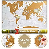 Póster del mapa mundi de rascar con tubo de regalo - extragrande - 84 x 59 cm - Maps International...