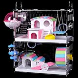 DuvinDD 2-Story Hamster Cages with Crossover Tubes Tunnels, Large Hamster Cage Habitats Gerbil House, Transparent Acrylic Small Animal Cage for Pet Rat, Syrian Hamster, Mouse with Various Accessories