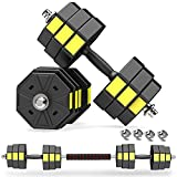 PANMAX Adjustable Dumbbells Barbell Set of 2, UP to 44lbs Free Weight Set with Connector, Octagon Anti-Rolling Dumbbell Barbells Set Home Office Gym Fitness Workout Exercises for Men/Women