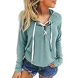 2018 Women's Hoodies,Sweatshirt Criss Cross Lace Up Long Sleeve Sweat Crop Top Pullover by-NEWONESUN Green