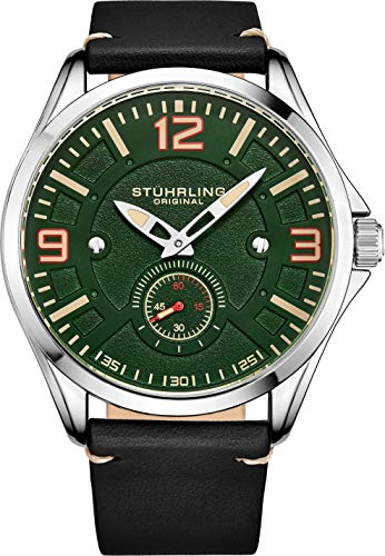 Stuhrling Original Aviator Herrenuhr - Strukturierte analoge Zifferblattuhr in Schwarz, Zifferblatt in Sekundenschnelle, lässiges genähtes Lederband, 3934 Mens Watches Collection (Green)