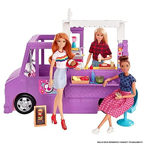 Barbie Furgoncino Street Food, Veicolo Trasformabile con pi di 30 Accessori, Giocattolo per Bambini 3+ Anni, GMW07