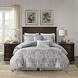 Harbor House Cozy 100% Cotton Comforter Set-Classic Modern Design All Season Down Alternative Casual Bedding, Matching Shams, King(110'x96'), Hallie, Damask Grey
