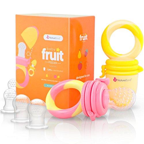 Ciuccio per Alimenti/Ciuccio Frutta Neonati NatureBond (2 Pezzi) – Gioco per Stimolare la Dentizione dei Bambini in Colori che Stimolano l'Appetito | Include i Sacchetti in Silicone di Tutte le Taglie