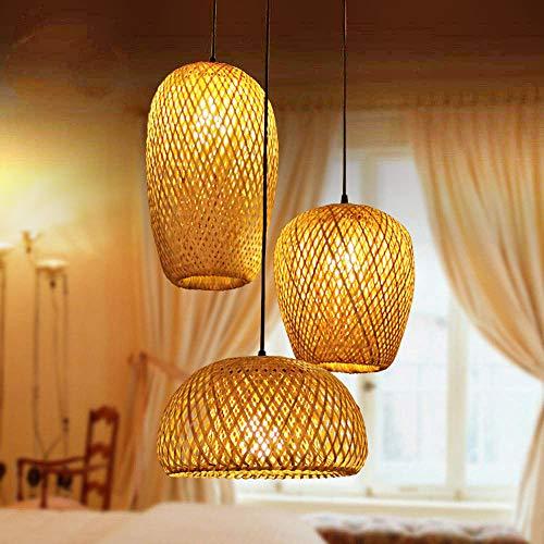 Bamboo Lantern Pendant Lamp, Retro Japanese Style E27 Chandelier Hanging Light Ceiling Lighting Fixture for Living...