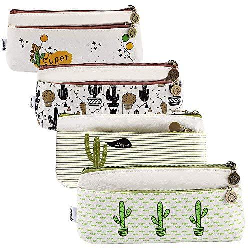 IPOW Confezione di 4 Astuccio Cactus in Tela Scolastico Borsa di Penna Moneta Makeup Portafoglio FineGood Borse di della Borsa della cancelleria