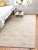 Unique Loom Marilyn Monroe Glam Collection Textured Geometric Trellis Area Rug_MMG002, 2 x 3 Feet, White/Gold
