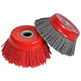 FPPO 2PCS 4' Inch Abrasive Wire Nylon Cup Brush for Angle Grinder, for Cleaning Polishing Deburring
