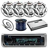Kenwood KMR-D365BT Marine Boat Radio Stereo CD Player Receiver Bundle Combo with 4X JVC CS-DR6201MW 6.5' 2-Way Coaxial Speakers + 360-Watt Amplifier + Enrock Radio Antenna + 50 Foot 16g Speaker Wire