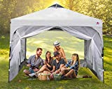 ABCCANOPY Pop Up Canopy with Mesh Mosquito Netting Wall, Camping Screen Houses Screen Rooms, Instant Canopy Tent, Gray