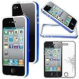 ebestStar - Coque Compatible avec iPhone 4, 4S Apple Etui Housse Contour Bumper TPU, Bleu/Blanc + Film écran en Verre Trempé [Appareil: 115.2 x 58.6 x 9.3mm, 3.5'']