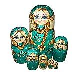 Fhouses 7 pièces fait à la main en bois poupées matriochka poupée russe,...
