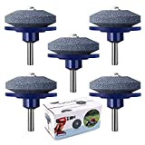 crafts man 5 Packs Lawn Mower Blade Sharpener Lawn Mower Sharpener for Any Power Drill Hand Drill by (5 pcs Blue)