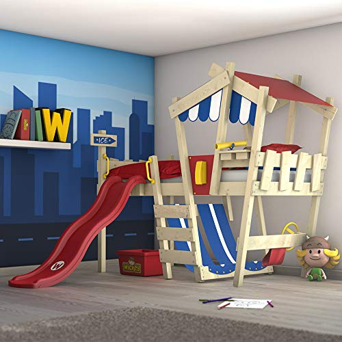 WICKEY Kinderbett \'CrAzY Hutty\' mit Rutsche - Hochbett in verschiedenen Farbkombinationen - 90x200 cm