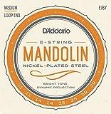 D'Addario CDD EJ67 Jeu de Cordes pour Mandoline Plaqué Nickel - Light