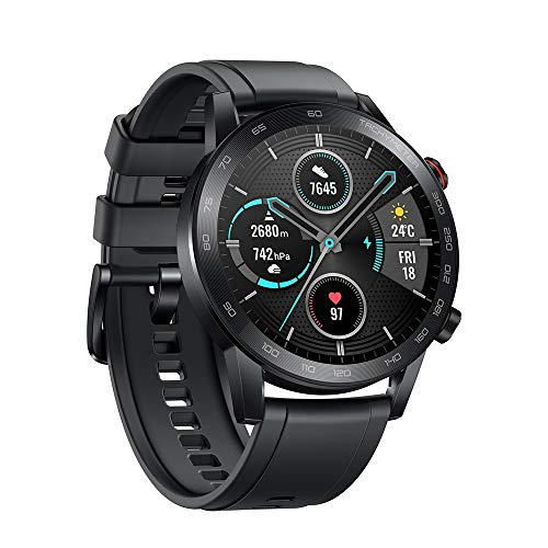 HONOR Magic Watch 2 46mm Smart Watch,15 Deportes Diferentes,Monitor de frecuencia cardíaca y estrés,Larga duración de batería, Altavoz Incorporado y micrófono Compatible con Android iOS, Negro