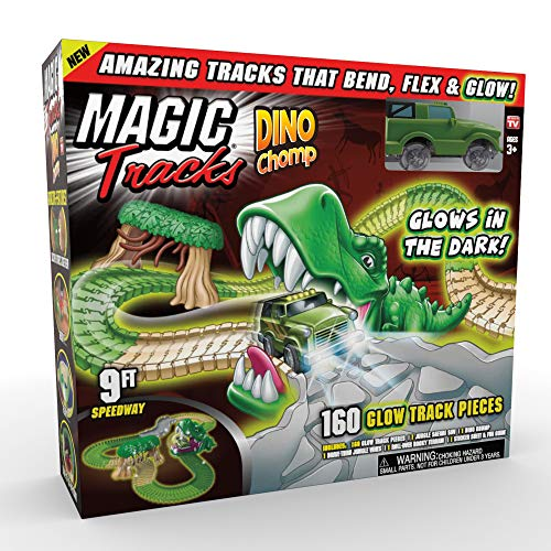 Ontel Magic Tracks Dino Chomp Glow in The Dark Racetrack Set with 9...