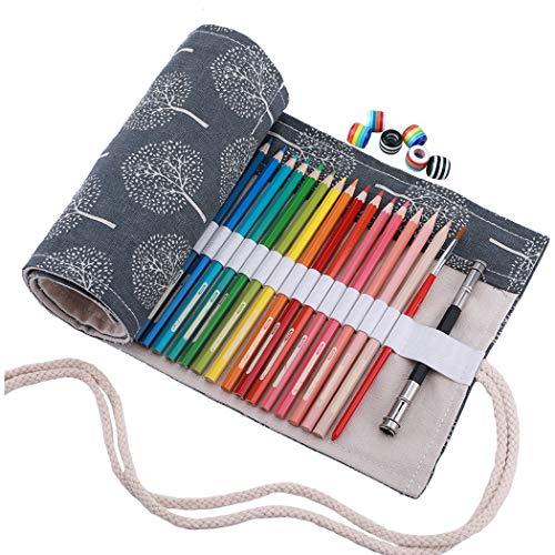 Amoyie - Tela wrap con perline, cassa del supporto di matita viag portamatite arrorolabile per 48...