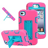 iPhone 4s case, iPhone 4 case, MagicSky Robot Series Hybrid Armored Case with Kickstand for Apple iPhone 4/4S - 1 Pack - Retail Packaging - Blue/Hot Pink