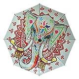 AOTISO Paraguas de Viaje Compacto con Mango de Apertura automática y Cierre con Elefante de Tailandia